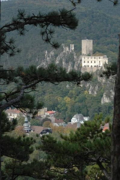 Blick zur Ruine Rauhenstein auf der anderen Talseite