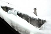 Verschneiter Innenhof im Gasthof Meyer