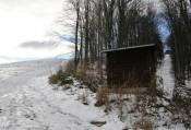 Rechts im Bild die ehemalige Trasse des Kirchenberg-Liftes zur Hütte hinauf