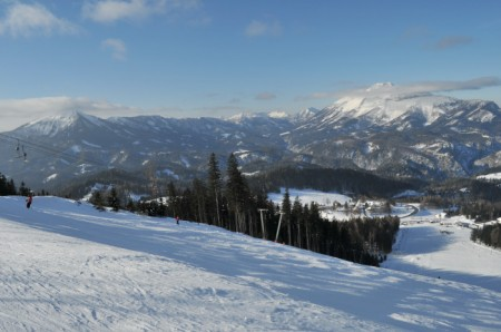Blick den mittleren Hang hinunter (beim Schlepplift-Ausstieg), im Hintergrund Ötscher und Gemeindealpe