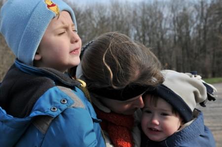 Den Kindern + Mutter war anfangs recht kalt (6 Grad C)