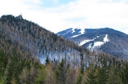Links der Zapfen ist der Kirchwaldberg, hinten der Unterberg