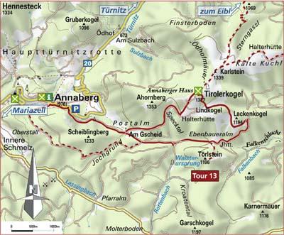 Karte Annaberg - Törlstein - Tirolerkogel