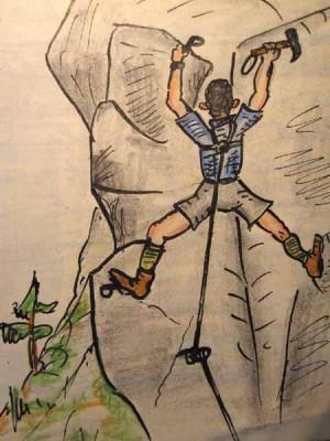 Extremtraining Haselsteinmauer 1959 (Zeichnung in meinem Tourenbuch)