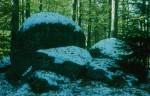 Granitblöcke im ersten Schnee