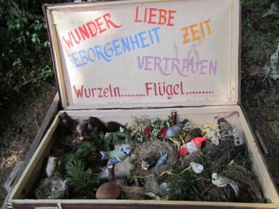 """""""Überraschungskoffer"""" am Erlebnisweg bei Station """"Vögel des Waldes"""""""