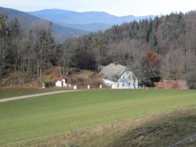 """Einsamer Hof mit Kapelle auf dem Sattel zw. Dürnbach- und Miesenbachtal (""""Auf der Höh"""")"""